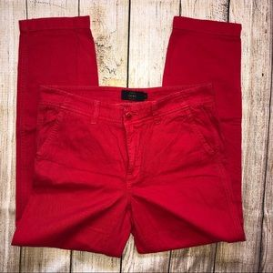 Like New! J. Crew Red Ankle Cropped Chino Pant 4